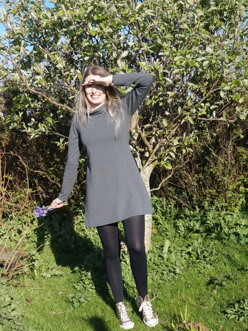 Grey funnel neck Coco Dress (attieanddora.com) Sewing Shetland