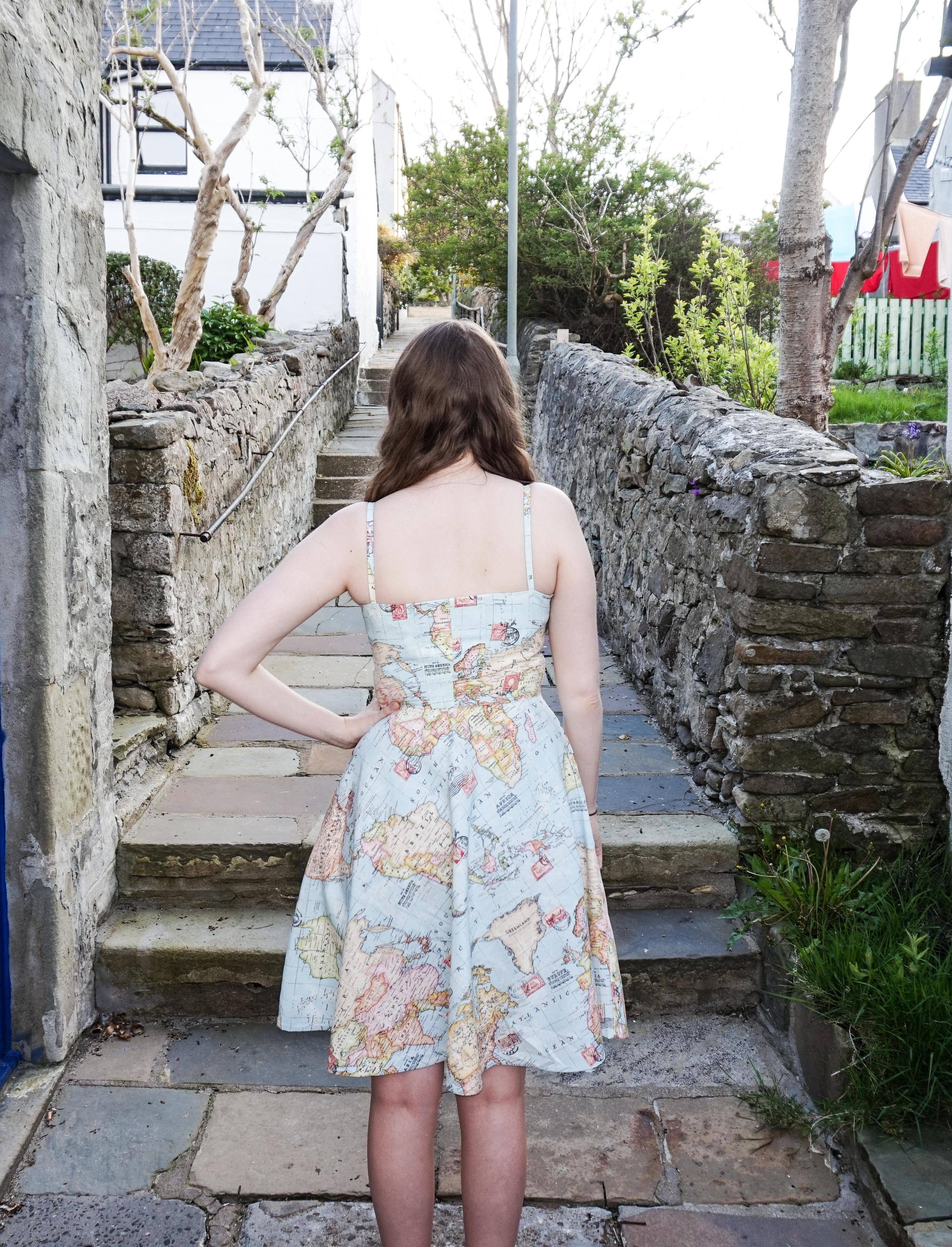 World Map Dress back view